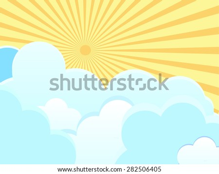 Vector clouds on blue background with sun rays
