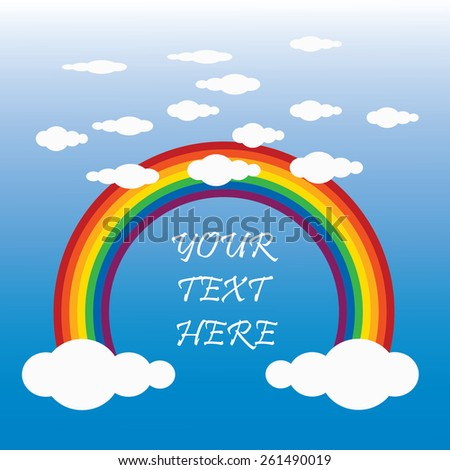 vector clouds with a rainbow for design and place for text  - stock vector