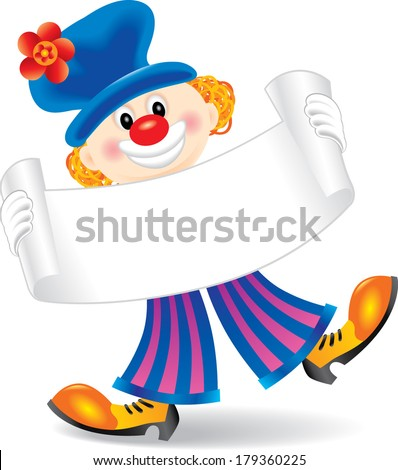 Vector clown holding banner - stock vector