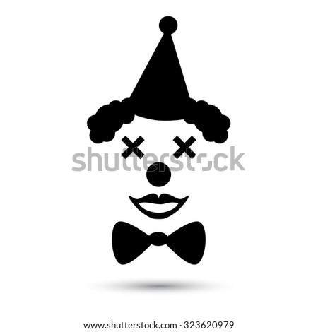 Vector clown icon. Flat black funny icon isolated on white - stock vector