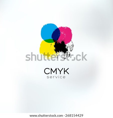 Vector CMYK drawing logo concept. CMYK target for print business. Printing technology emblem. Polygraphic colors. - stock vector
