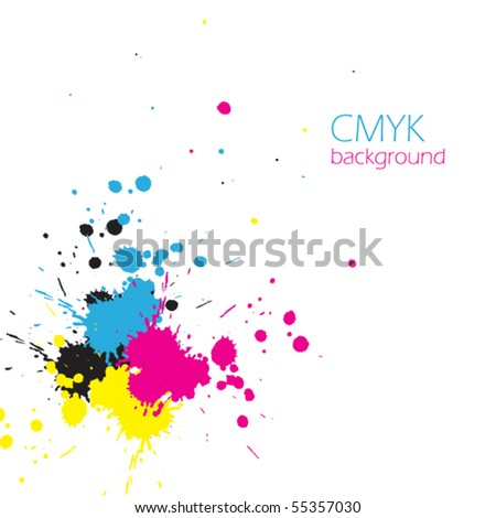 Vector CMYK ink splashes - stock vector