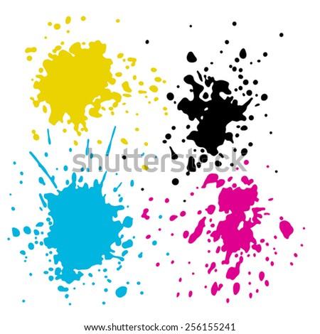 Vector CMYK ink splashes on white background - stock vector