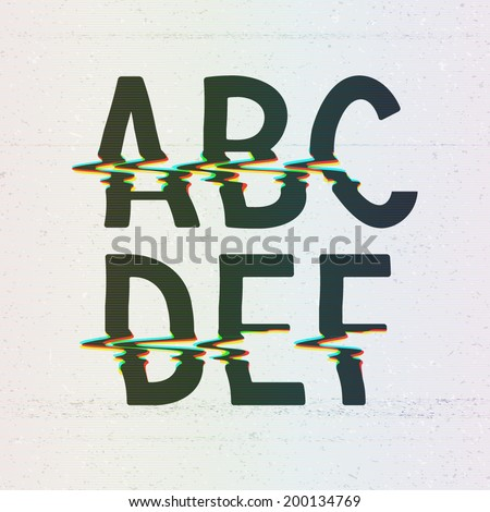 Vector CMYK Print Distortion Glitch Font from A to F - stock vector