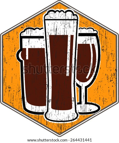 vector coaster with different beer glasses with retro scratch - stock vector