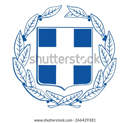 Vector Coat of arms of Greece, Original and simple Greece coat of arms isolated vector in official colors and Proportion Correctly.   - stock vector