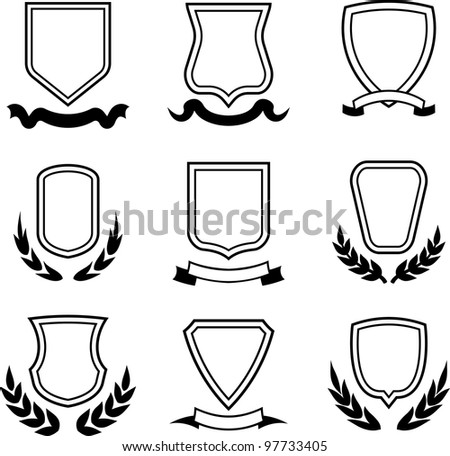 Vector coats of arms, shields and ribbons - stock vector
