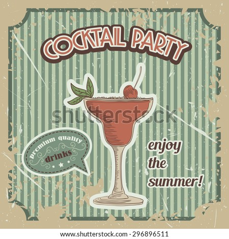 Vector Cocktail poster in vintage style with typography elements - stock vector