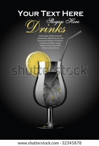 Vector cocktail template with copy space - stock vector
