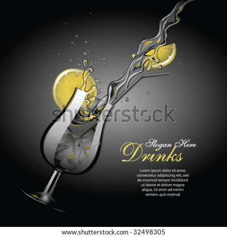 Vector cocktail template 2, with copy space - stock vector