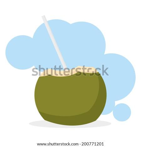 Vector Coconut Drink Cartoon Illustration Editable With Background - stock vector