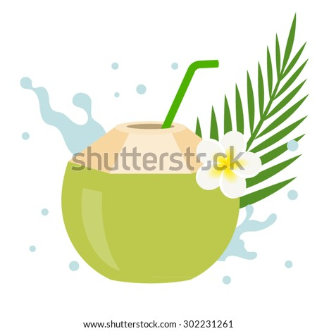 Vector coconut juice with plumeria flower