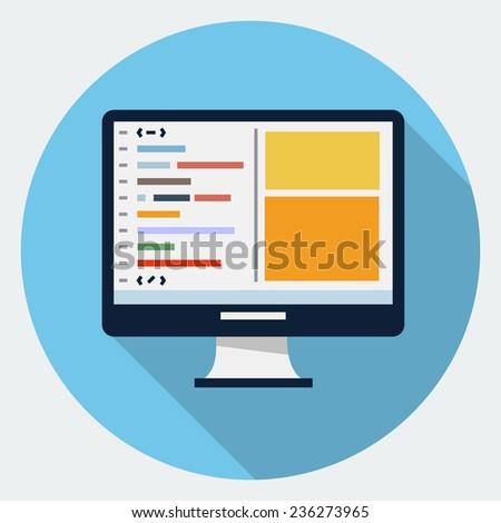 Vector code editor Icon - stock vector