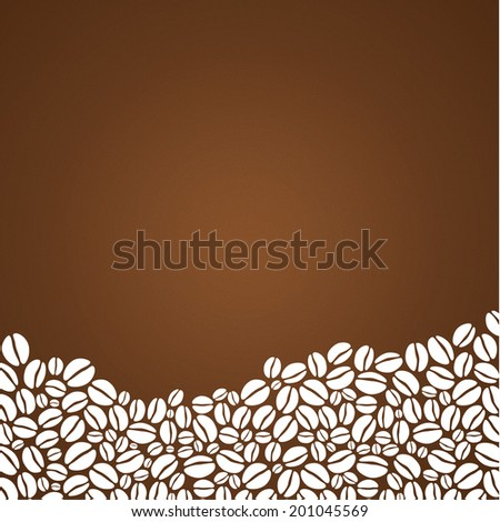 Vector coffee background. Decorative square background with place for your text. Mound composed from stylized coffee beans. - stock vector