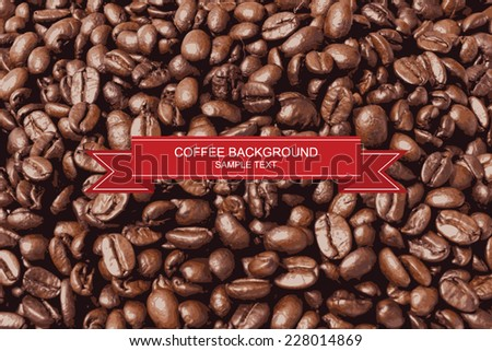 Vector coffee beans background. - stock vector