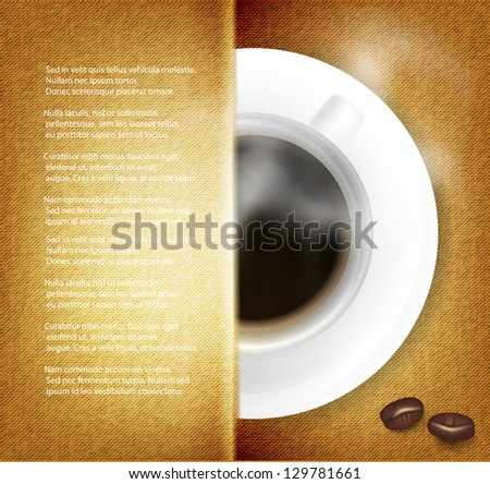Vector coffee cup against fabric background. - stock vector