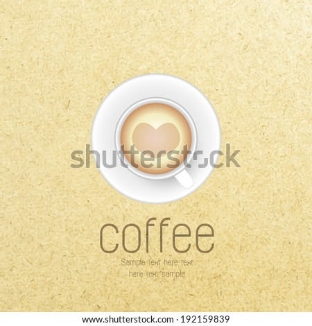 Vector coffee cup against paper background.  - stock vector