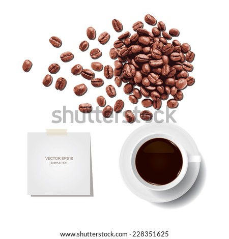 Vector coffee cup and coffee beans with paper stick on white background. - stock vector