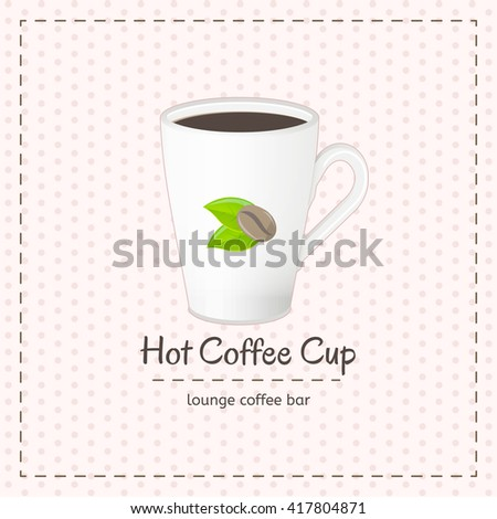Vector coffee cup for latte close up with logo consisting of coffee beans and leaves on checkered background. File with transparent objects. - stock vector