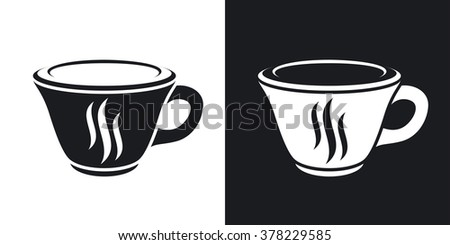 Vector coffee cup icon. Two-tone version on black and white background - stock vector