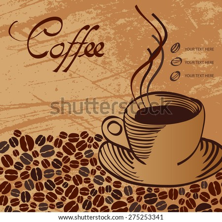 Vector coffee cup on background. Menu for restaurant, cafe, bar, coffeehouse - stock vector