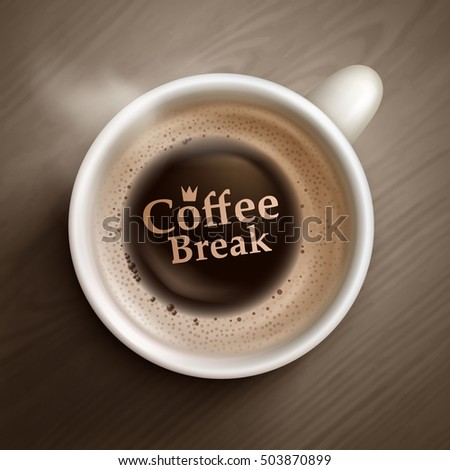 Vector coffee cup on wooden background.