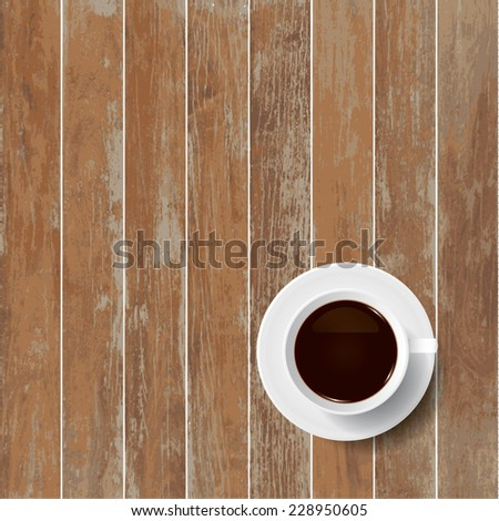 Vector coffee cup on wooden texture background.