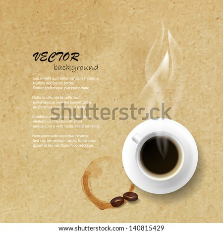 Vector coffee cup with coffee stain against paper texture background. - stock vector