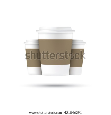 vector coffee cups isolated on white background. take away cup mock up. coffee to go.