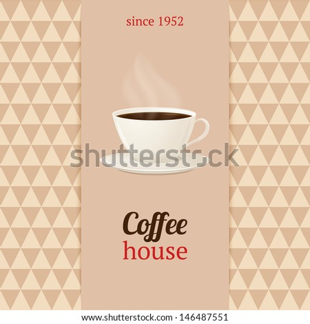 Vector coffee house menu with cup of hot drink.