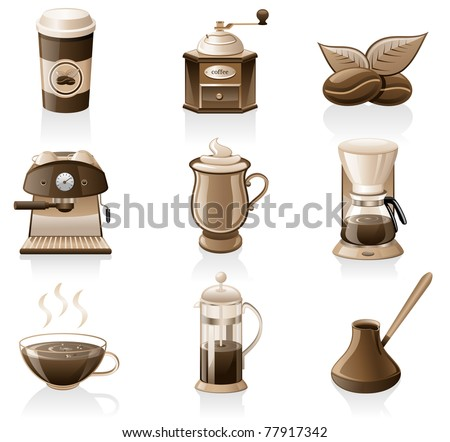 Vector coffee icon set isolated on white background. - stock vector