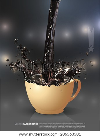 Vector  coffee is splashing in cup  - stock vector