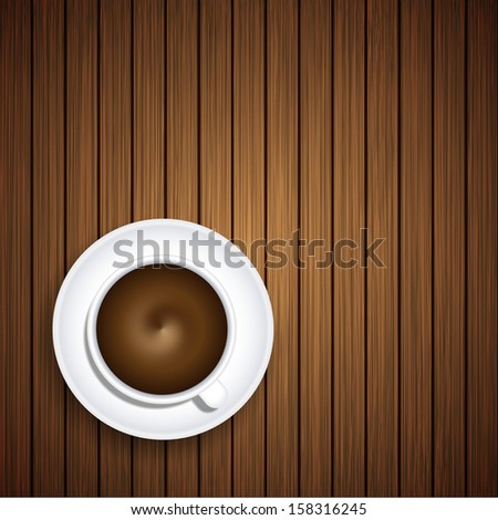 Vector coffee on wooden background. Eps10