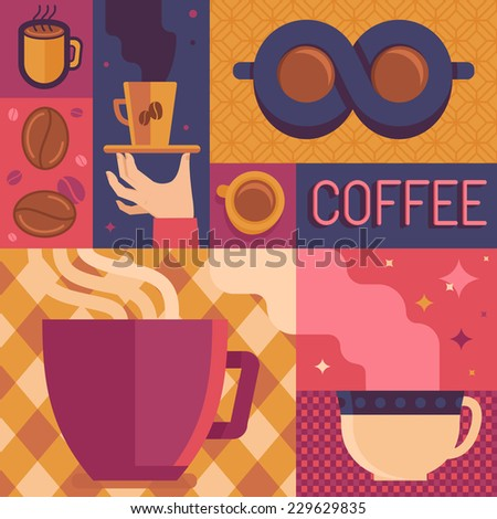 Vector coffee poster or greeting card template in flat retro style - illustration for coffee shop or cafe - stock vector