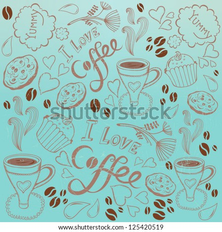 Vector coffee seamless pattern/blue. - stock vector