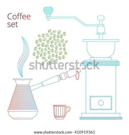 Vector coffee set. Color lines coffee concept. - stock vector