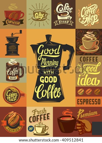 vector coffee shop and coffee set poster - stock vector