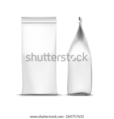 Vector Coffee Tea Packaging Package Bag Isolated on White Background - stock vector