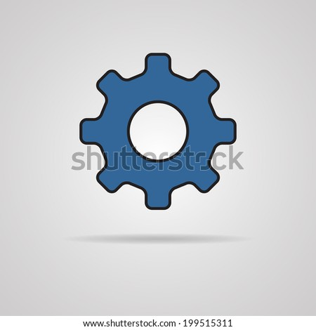 Vector Cog Icon with shadow. Illustration EPS10 - stock vector