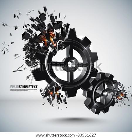 Vector Cogwheel Crushing - stock vector