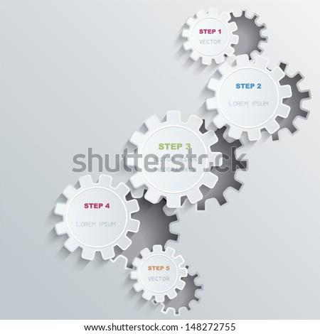 Vector cogwheels progress background  - stock vector