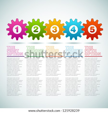 Vector Cogwheels progress icons - one two three four five - teamwork template - stock vector