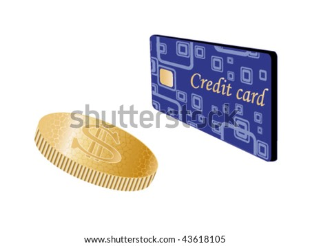 Vector coin and credit card - stock vector