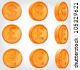 vector coin rotation dollar euro pound sterling copper - stock vector