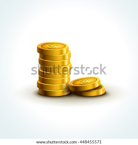 Vector coins isolated. Golden coins success economy . Treasure jackpot winning. - stock vector