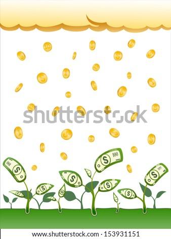 Vector coins rain and money flowers - stock vector