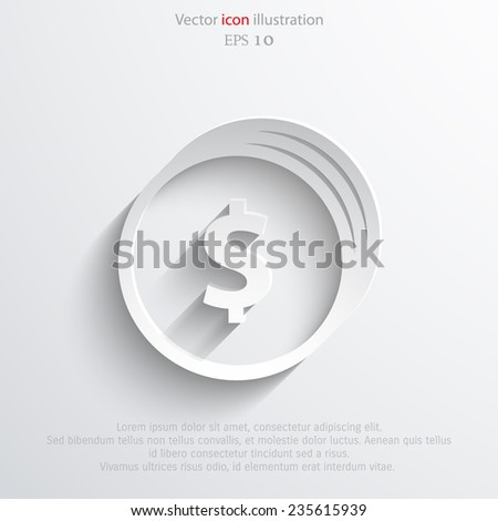 Vector coins with dollar sign web flat icon. - stock vector