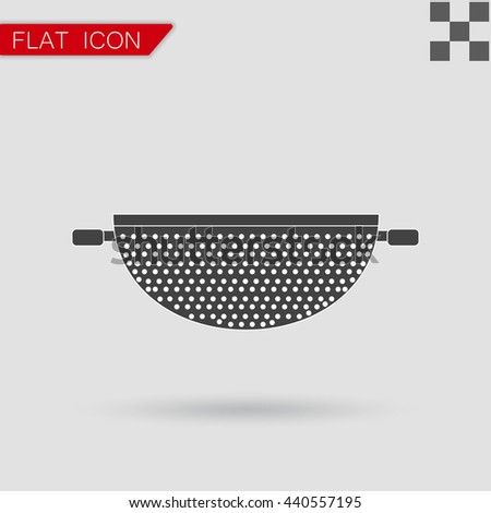 Vector Colander Icon Flat Style with red - stock vector