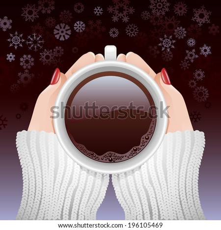Vector cold hands holding a cup of hot coffee against snowy background - stock vector