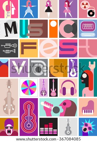 Vector collage of diverse images with a musical theme featuring the Music Festival text - stock vector